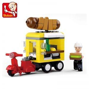צעצוע לגו - דגם רוכל נקנקיות - עם אופנוע - 112 חלקים