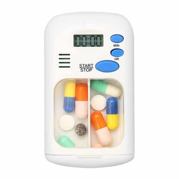קופסת תרופות ניידת - מחולקת לשני תאים - עם שעון התרעה