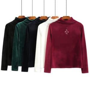 חולצה קטיפה אופנתית לחורף - גולף - לנשים - חמישה צבעים
