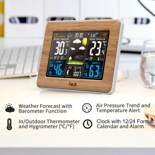 שעון רב תכליתי - שעון מעורר - מידע על מזג האויר - מד טמפרטורה - מד לחות