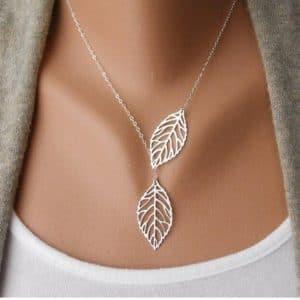 שרשרת עלים לנשים - טבעי ופסטורלי - בסגנון כסף / זהב לבחירה