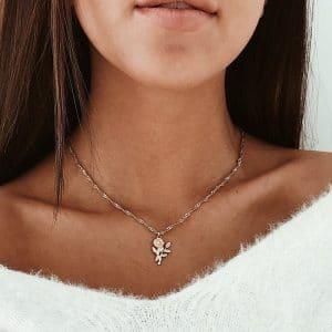 שרשרת שושן לנשים - עדין ופשוט - בסגנון כסף / זהב לבחירה