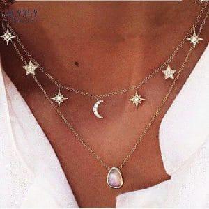 שרשרת שכבות לנשים - כוכב, שמש, ירח ואבן טובה - מיוחד לקיץ