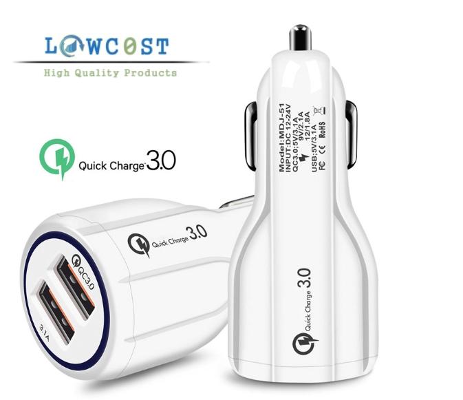 מטען מהיר לרכב USB QC 3.0 שני שקעים לקניה בזול